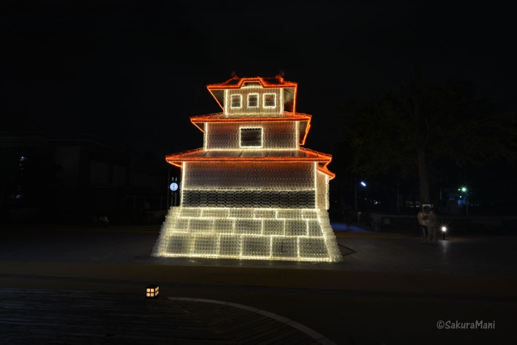 Model of Morioka Castle built with plastic bottles