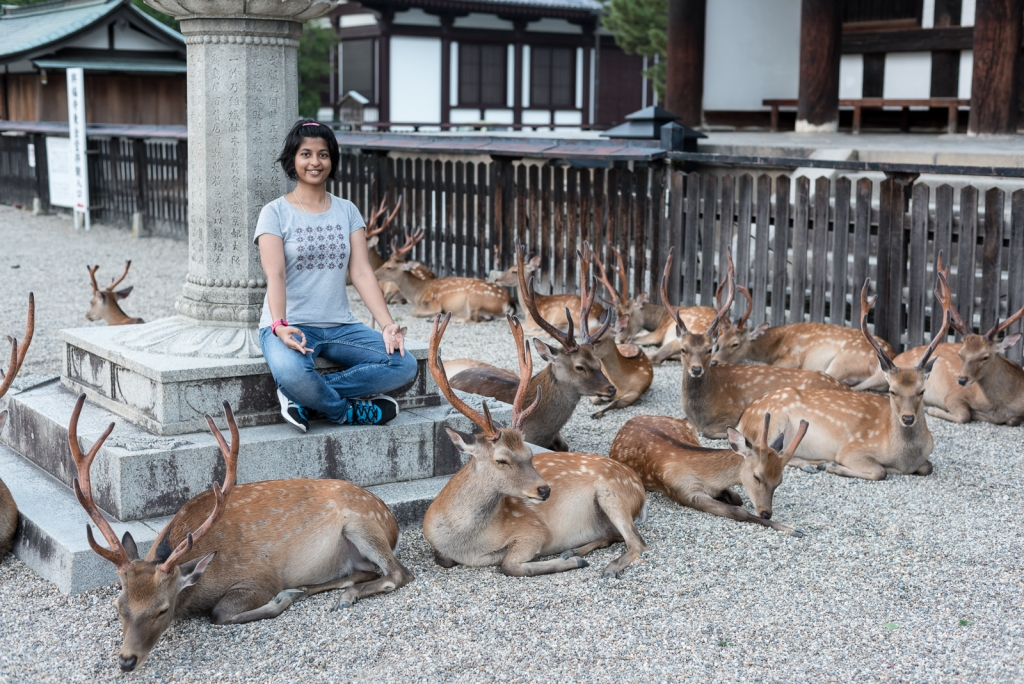 With Nara deer at Kofuku-ji