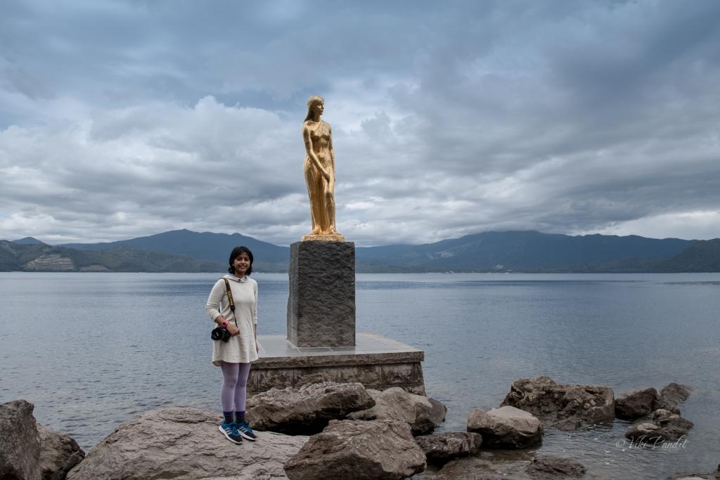 Statue of Tatsuko in Lake Tazawa