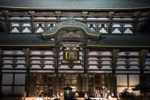 Almost everyone residing in Nara-machi was at Todaiji on New year's eve. The big bronze bell tolled at midnight as people rushed into the temple.