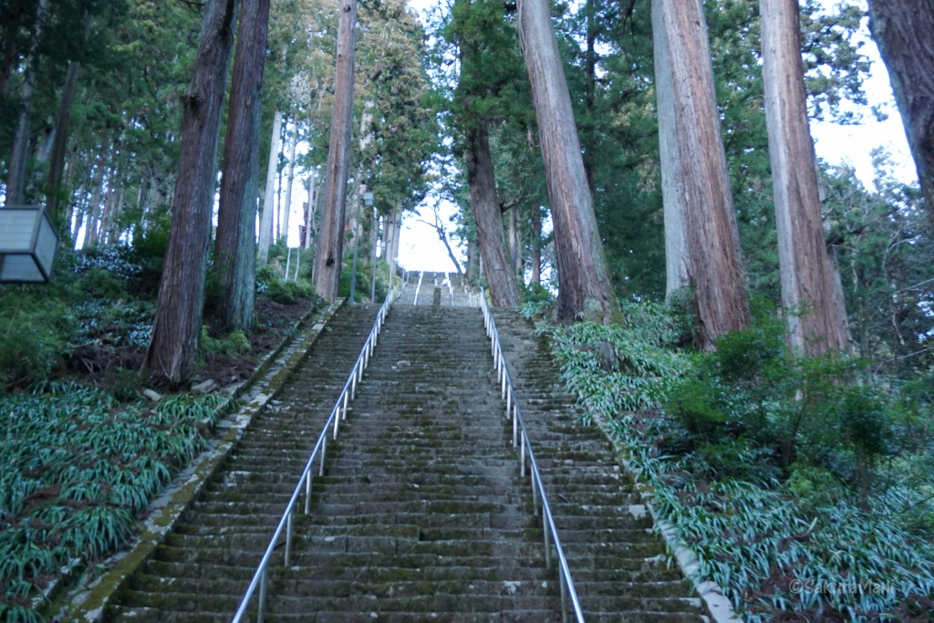 Stairs leading to Minobusan Kuon-ji temple