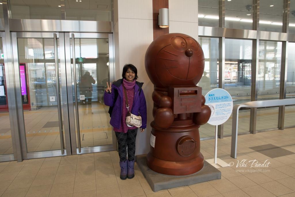 Doraemon post box inside Takaoka station